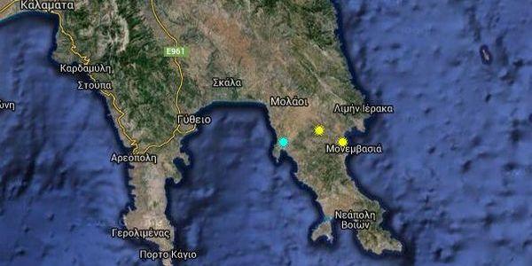 16.5.2016_Σεισμός 4.2 Ρίχτερ κοντά στη Μονεμβασιά