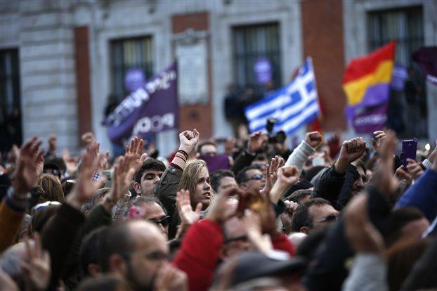 1.2.2015_Ισπανία δεκάδες χιλιάδες διαδηλωτές με το Podemos στους δρόμους της Μαδρίτης