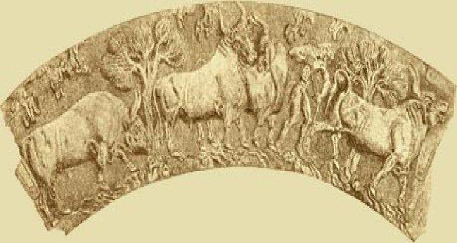 Αναπαράσταση αγελάδας από το χρυσό κύπελλο του Βαφιού Λακωνίας. 1500 π.Χ.